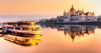 View Budapest parliament sunrise